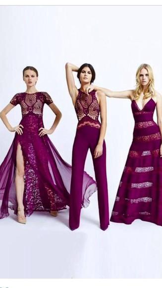 dress jumpsuit burgundy crochet