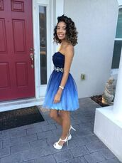 formal dress,blue ombré,white shoes,short dress