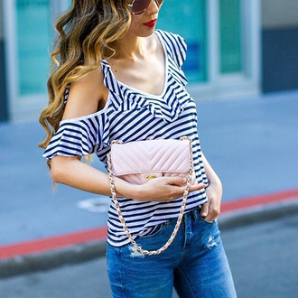 t-shirt cut-out top mini bag clutch chanel bag denim jeans skinny jeans blogger blogger style striped top