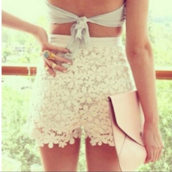 shorts highwaisted shorts white lace adorable socute