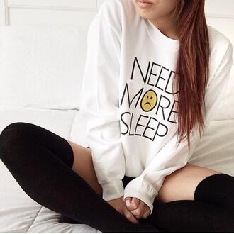 sweater need more sleep white