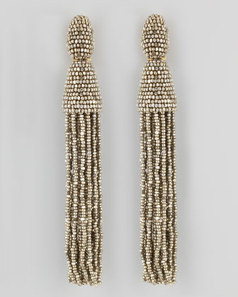 Oscar de la Renta Beaded Long Tassel Earrings, Champagne - Neiman Marcus