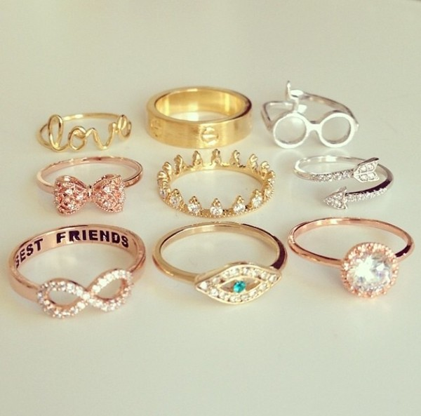 jewels gold silver ring crown eye infinity bow arrow gems harry potter ring gold ring silver ring best friends infinity ring rings and tings