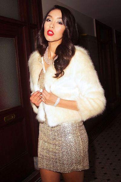 Soft beige fuzzy faux fur coat