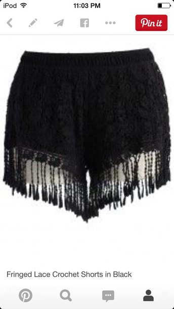 shorts fringe lace crochet shorts
