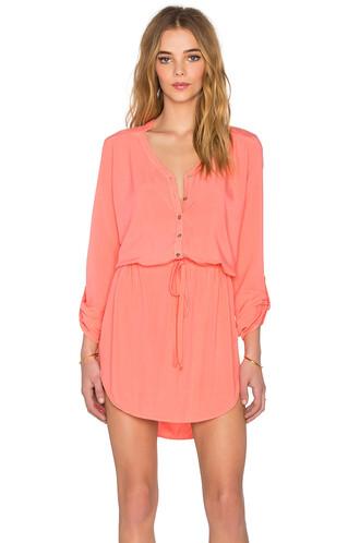 dress shirt dress mini coral