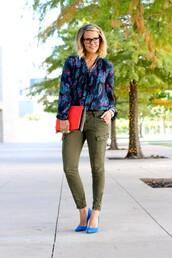 the courtney kerr,blogger,blouse,khaki pants,blue shoes,top,pants,shoes,bag,jewels