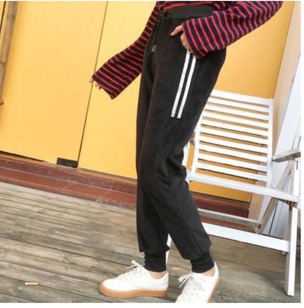 pants joggers joggers pants black white stripes sweatpants velvet velour