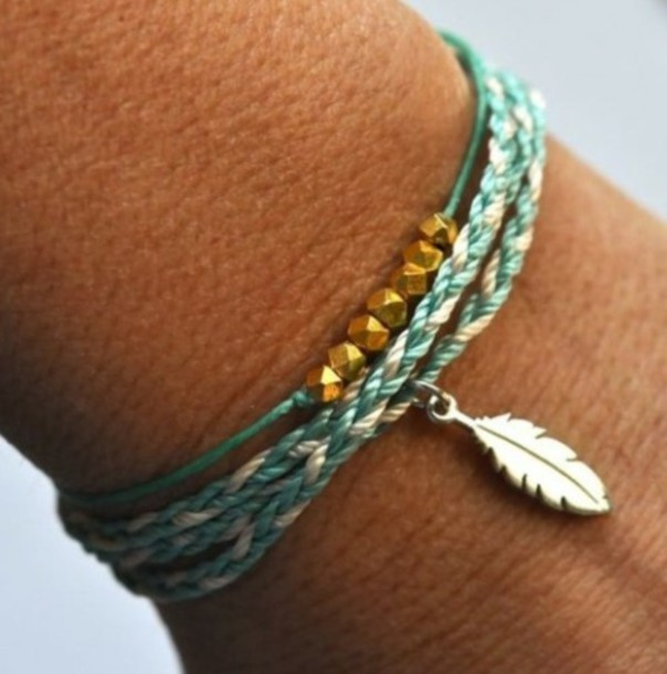 bracelets feather jewels