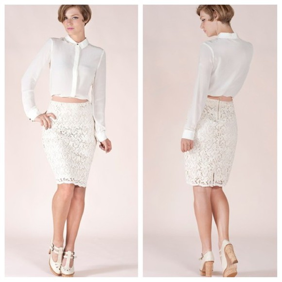 classy lace up vintage clothes www.dorcellesempire.com f skirt white