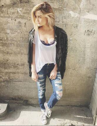 shoes sneakers denim lucy hale instagram bra bralette jacket top