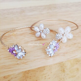 jewels ishopcandy.com bracelets flowers floral cuff fashion ootd armcandy
