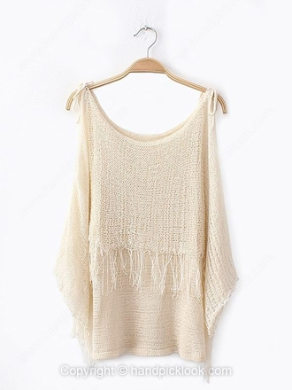 sweater beige beige sweater fringes fringe sweater