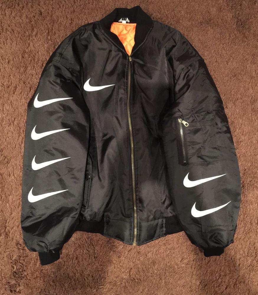 Nike jacket in chinese - Ma 1 Custom Nike Bomber Jacket Bucket Hat Kyc Very Rare Flight Supreme Small