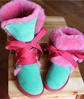 shoes,boots,fur boots,girl,women,pink,turquoise,green,sneakers,lace boots