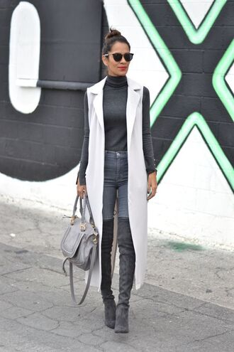 top all grey everything all grey outfit grey jeans jeans boots grey boots over the knee boots vest bag grey bag turtleneck grey top sunglasses