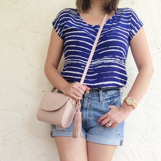 a pretty penny blogger top shorts bag jewels