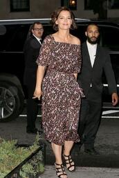 dress,off the shoulder,off the shoulder dress,katie holmes,sandals,midi dress,celebrity