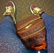 light brown shoes,sneakers,michael kors,micheal kors shoes,low top sneakers,bag,rose gold