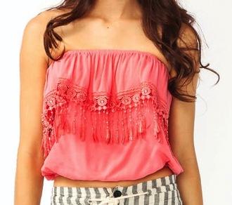 blouse crochet tube top tassel
