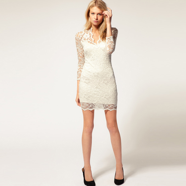 Bqueen lace dress with scalloped