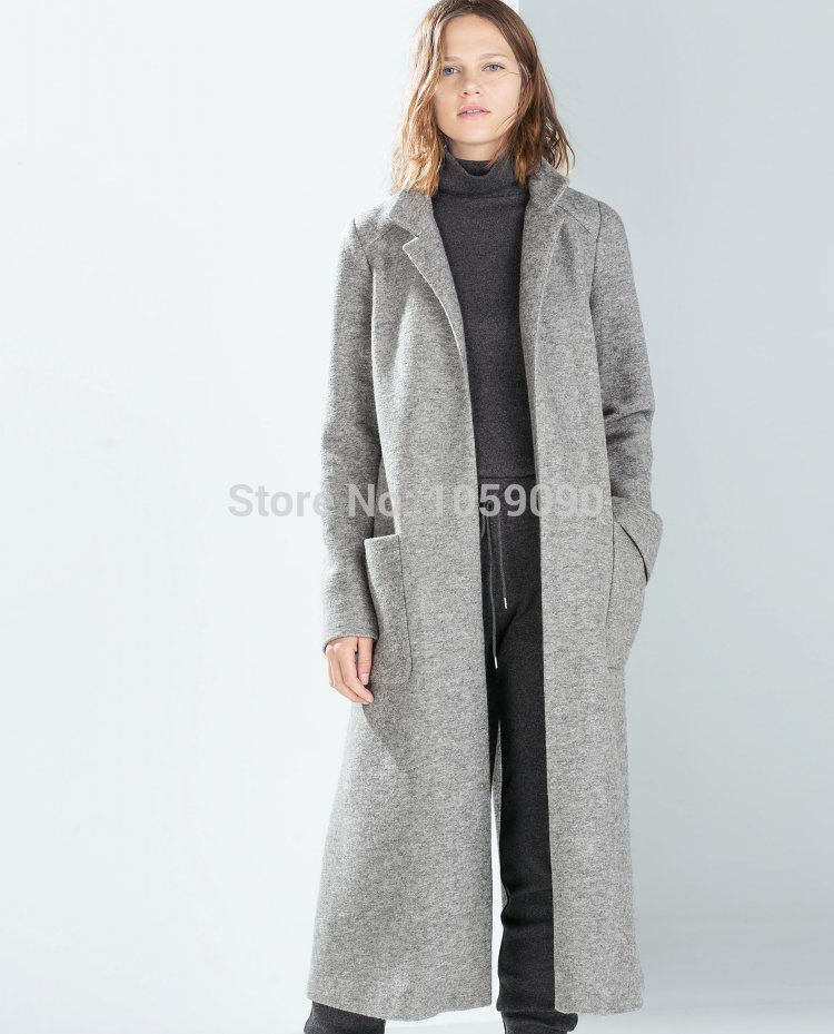 Za 2015 new genuine autumn winter fashion grey wool coat overcoat women extra long loose woolen trench jacket blends with pocket