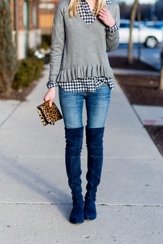 kelly in the city - a preppy chicago life style and fashion blog blogger sweater top pajamas swimwear dress boots over the knee boots grey sweater shirt clutch
