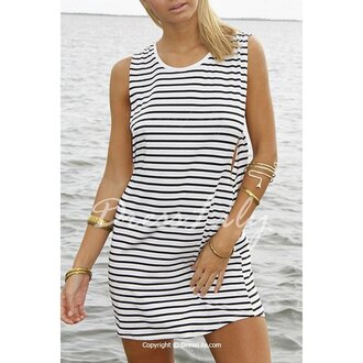 dress stripes summer sexy stylish cute girly light white sleeveless fashion fashionista trendy bangle gold beach vintage retro black and white black and white dress striped dress summer dress summer outfits summer top cute dress lookbook scoop neck girly dress
