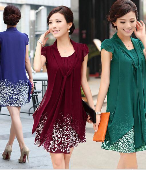 2014 Hot Summer new fashion women's high quality pretty casual plus size L/XL/2XL/3XL/4XL knee length chiffon dress print dress | Amazing Shoes UK
