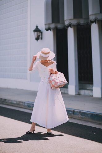 hallie daily blogger top skirt bag hat sunglasses white skirt spring outfits handbag sun hat
