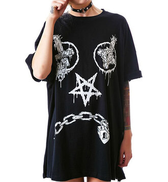 shirt grunge style sad smiley oversized t-shirt fashion grunge black oversized stars chain