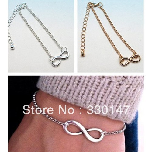 Free shipping Fashion Simple Punk Infinite Infinity Sign Bracelet Bangle Necklace Chain Golden Silver-in Necklaces & Pendants from Jewelry on Aliexpress.com