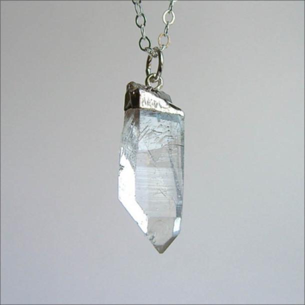 jewels necklace quarts clear quartz pendant crystal