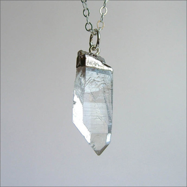necklace quarts clear quartz raw stone birthstone jewels pendant crystal crystal point boho bohemian hippie