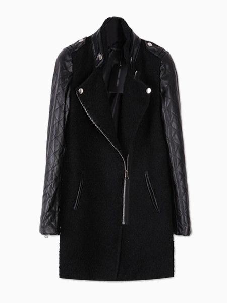 Wool Coat Contrast PU Sleeve   Choies