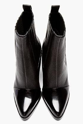 Kenzo Black Leather Paris Texas Kara Boots for women | SSENSE