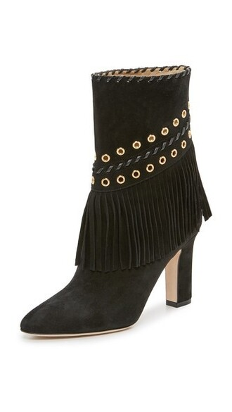 summer booties suede black shoes