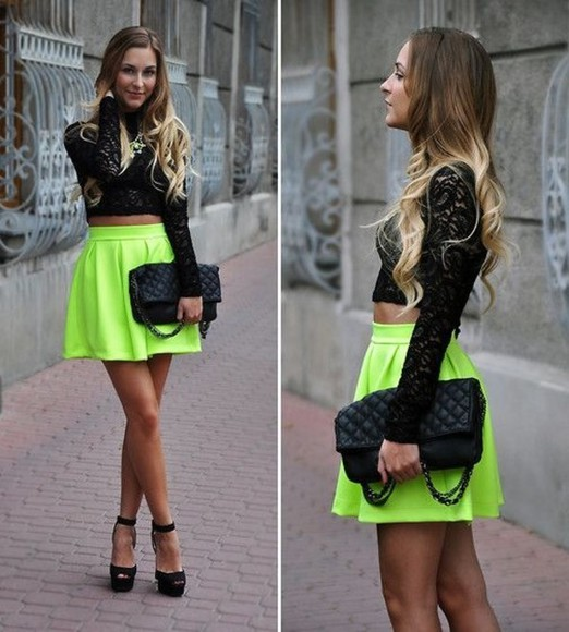 skirt neon skirt black lace shirt top lace crop tops black top bag shoes