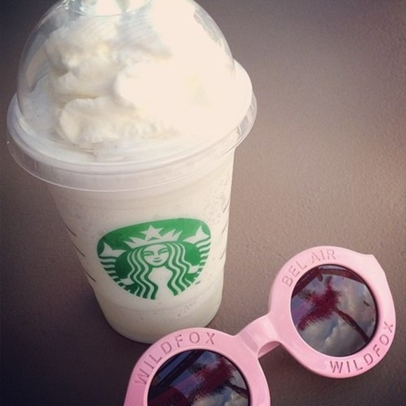 sunglasses pink sunglasses round sunglasses vintage bel air wildfox pale pink circular starbucks
