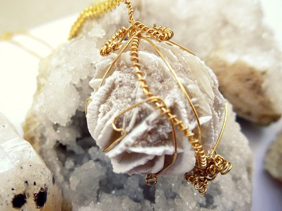Selenite Desert Rose - Gold Wire Wrapped Necklace - Taurus Birthstone