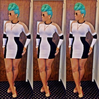 keyshia ka'oir black and white dress bodycon dress nude high heels shoes