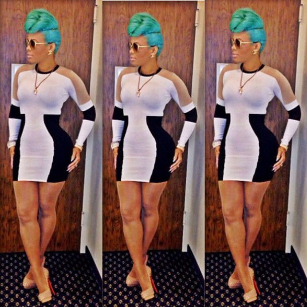 keyshia kaoir black and white dress bodycon dress nude high heels shoes