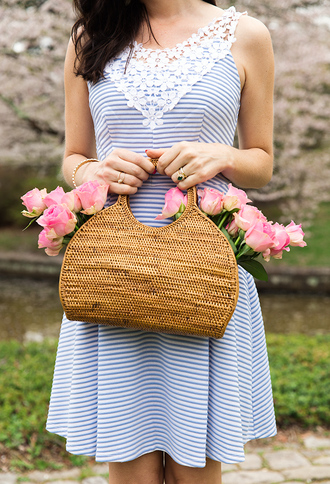 dress tumblr mini dress blue dress stripes striped dress sleeveless sleeveless dress bag basket bag ring gold ring bracelets gold bracelet jewelry gold jewelry accessories accessory woven bag