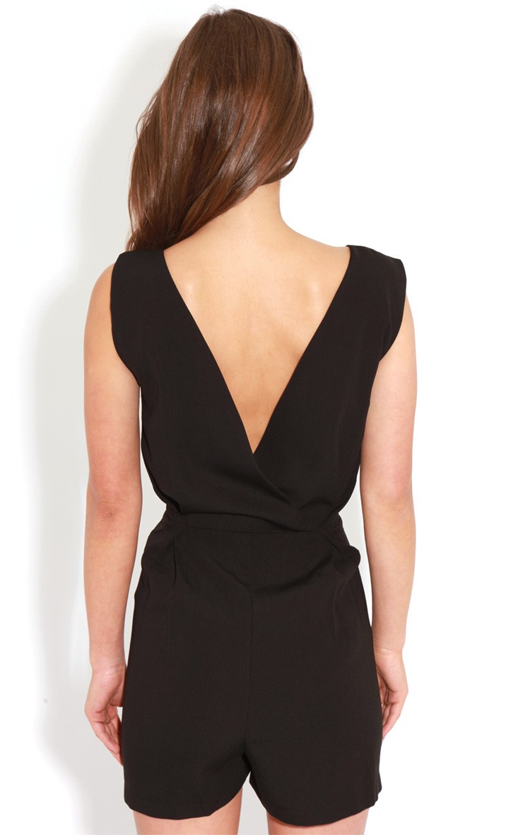 Diana black cross over playsuit