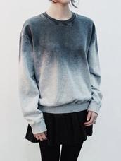 sweatshirt,ombre,sweater,grey sweater,grey,burn,fade,oversized sweater,oversized,skirt,cute,minimalist,grunge,blue,fashion