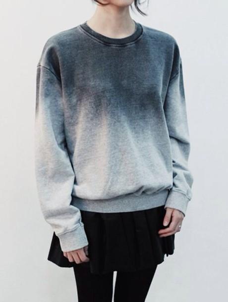sweatshirt ombre sweater grey sweater grey burn fade oversized sweater oversized skirt cute minimalist grunge blue fashion top ombré sweatshirts swater degradado