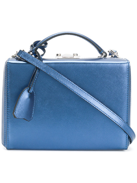 mini women bag leather blue