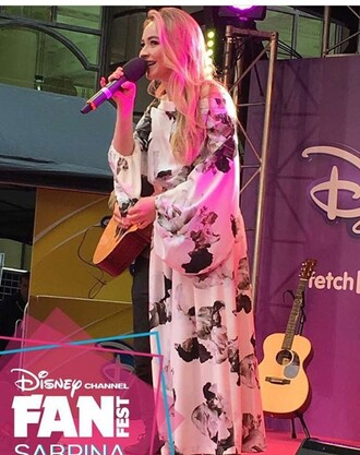 romper sabrina carpenter girl meets world gmw fan fest black and white blouse disney floral flouncy long sleeves flowers flow flowy