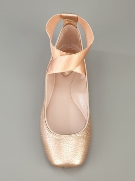 shoes chloe ballet flats pointe slippers pink ballet flats ballet shoes