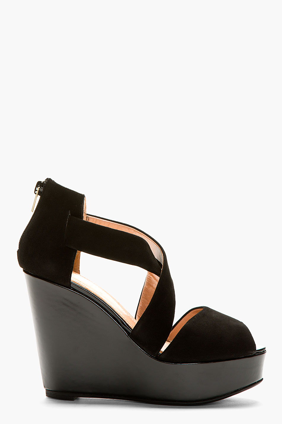 Robert clergerie black suede borset wedge sandals
